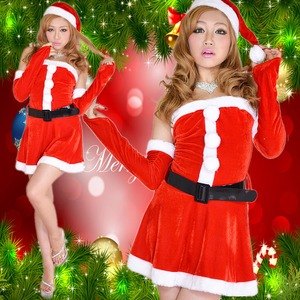 超セクシー&かわいい 0904 アームカバーつきサンタコスチューム4点セット クリスマス 赤 - 拡大画像