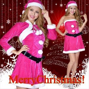 超かわいい 0902 ボレロサンタコスチューム4点セット クリスマス チェリーピンク - 拡大画像