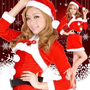 超かわいい 0902 ボレロサンタコスチューム4点セット クリスマス 赤 - 拡大画像
