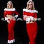 セクシー エレガンス  ロング丈 長袖 赤 サンタ衣装 クリスマス コスプレ