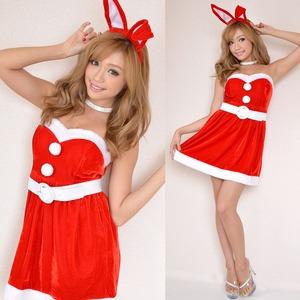 超かわいい 新作 7115 バニーサンタコスチューム3点セット クリスマス 赤 - 拡大画像