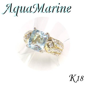 K18 イエローゴールド リング アクアマリン & ダイヤモンド/3月誕生石/12号 - 拡大画像