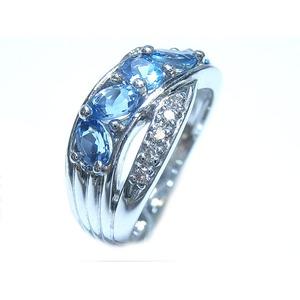K18WG アクアマリン:0.97ct ダイヤモンド:0.10ct 指輪 3月誕生石/10号 - 拡大画像