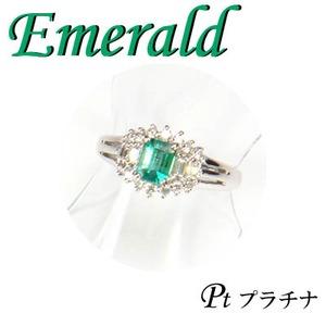 Pt850 プラチナ リング エメラルド & ダイヤモンド 5月誕生石/12号 - 拡大画像