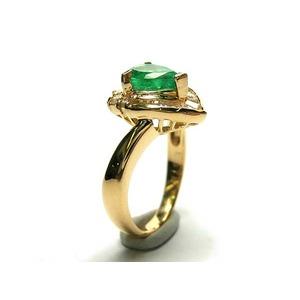 k18 エメラルド:0.78ct ダイヤモンド:0.38ct 指輪  5月誕生石/9号 - 拡大画像