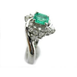 Pt900 エメラルド 0.35ct ダイヤモンド 0.25ct リング・指輪  5月誕生石/11号 - 拡大画像