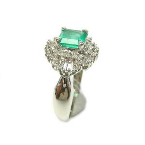 Pt900 エメラルド 0.51ct ダイヤモンド 0.25ct リング・指輪 5月誕生石/11号 - 拡大画像