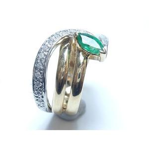 K18 Pt900 エメラルド 0.32ct ダイヤモンド 0.13ct リング・指輪 5月誕生石/11号 - 拡大画像