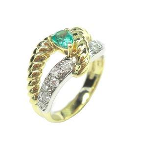 K18 Pt900 エメラルド ダイヤモンド リング・指輪 5月誕生石/12号 - 拡大画像
