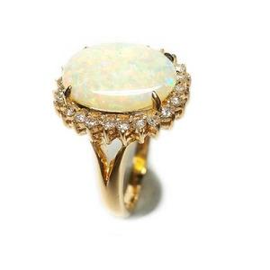 K18 オパール 2.65ct ダイヤモンド リング・指輪  10月誕生石/7号 - 拡大画像
