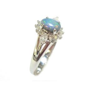 PT900 ブラックオパール:0.46ct ダイヤモンド:0.28ct リング・指輪  10月誕生石/12号 - 拡大画像
