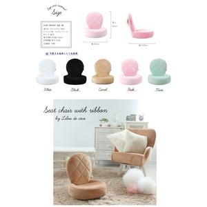 Liloudecoco リルデココ 座椅子(リボン付)キャメル 姫系 キルティング クッション 一人暮らし 折りたたみ可能 椅子 小さい