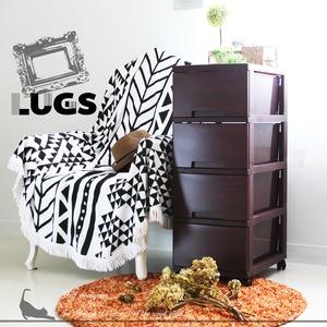 LUGS ラグス木目調4段 ダークブラウン チェスト 衣装ケース プラスチック BOX 収納ケース 木目 ウッド - 拡大画像