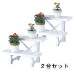 フラワースタンド ヒナ2段450 ホワイト 2台セット 45cm幅 日本製 園芸 ガーデニング スタンド プランター置き プランタースタンド