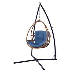 ラタン ハンギングチェア/パーソナルチェア 【幅78cm】 木製 綿 スタンド付き 〔ガーデン テラス リビング〕
