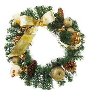 【クリスマス】40cmゴールドリボンリース CBD-142 - 拡大画像