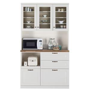 ユーアイ NEO LIEN(リアン) 食器棚120 オープンスペース付 ホワイト K-120HOP - 拡大画像