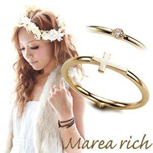 Marea rich(マレアリッチ) K10 クロスモチーフ・ダイヤ 2WAY ピンキーリング ゴールド×ダイヤモンド 3号 10KJ-18 - 拡大画像