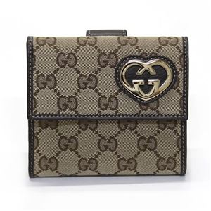 Gucci(グッチ) オリジナルGG ハートシェイプディティール Wホック 二つ折り財布 ベージュ×ブラウン 245727 FAFXG 9643 - 拡大画像