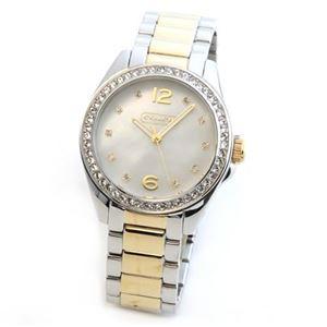 Coach(コーチ) ダイヤルにはシェルの輝きとラインストーン ラグジュアリーなレディス腕時計 14501659 - 拡大画像