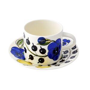 Arabia(アラビア) AR008944+AR008945 Paratiisi Cup&Saucer set 180ml/14cm ブラックパラティッシ コーヒーカップ&ソーサー(プレート皿)セット ≪北欧食器≫ - 拡大画像