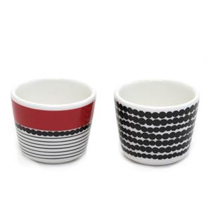 marimekko(マリメッコ) SIIRTOLAPUUTARHA EGG CUP 2 PCS 065804 193 white/black/red 手描き風ドットデザイン エッグスタンドカップ 2個セット - 拡大画像