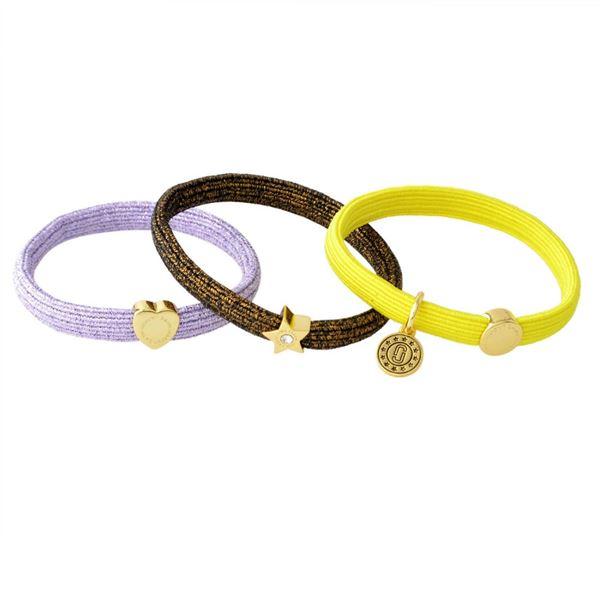 MARC JACOBS (マークジェイコブス) M0013841-750 Yellow Multi (イエローマルチ) クラスターポニー ヘアゴム3本セット ブレスレットにも Heart Star Medallion Pony