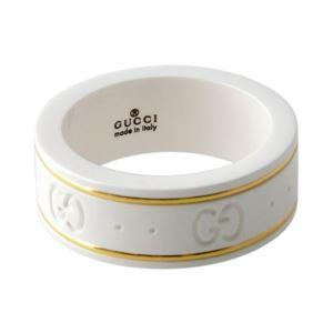 GUCCI (グッチ) 325964-J85V5-8062 9号 GGパターン エングレービング ホワイトジルコニア/18KYG リング 指輪