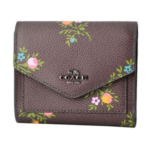 COACH (コーチ) 22886 Dk/Oxblood Cross Stitch Floral (DKMXP) フラワープリント 三つ折り ミニ財布 SMALL WALLET - 拡大画像