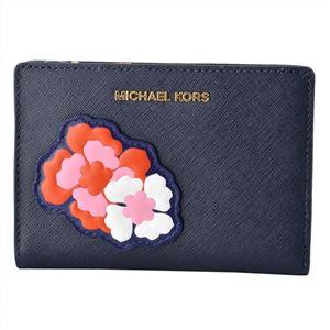 MICHAEL KORS (マイケルコース) 32S8GF6D6I 771 BEGONIA (ネイビー)フラワーモチーフ ミディアム カードケース キャリーオール JET SET TRAVEL