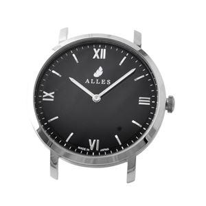 ALLES(アレス) wwas391h01d04 【日本製 クォーツ】 腕時計用ヘッド ローマインデックス シルバー×ブラック 39mm ヘッドのみ ベルト別売り - 拡大画像