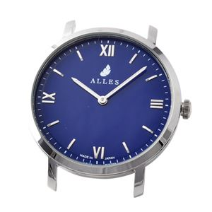 ALLES(アレス) wwas391h01d06 【日本製 クォーツ】 腕時計用ヘッド ローマインデックス シルバー×ネイビー 39mm ヘッドのみ ベルト別売り - 拡大画像