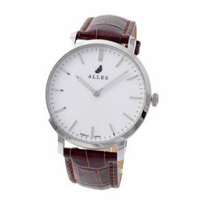 ALLES(アレス) wwas391h01d01e02 メンズ腕時計 ユニセックス腕時計 39mm 【日本製 クォーツ】 バーインデックス ホワイト/シルバー ブラウン型押し革ベルト - 拡大画像