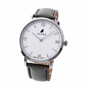ALLES(アレス) wwas391h01d02f06 メンズ腕時計 ユニセックス腕時計 39mm 【日本製 クォーツ】 ローマインデックス ホワイト/シルバー グレーカーフ革ベルト - 拡大画像