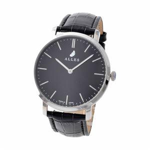 ALLES(アレス) wwas391h01d03e01 メンズ腕時計 ユニセックス腕時計 39mm 【日本製 クォーツ】 バーインデックス ブラック/シルバー ブラック型押し革ベルト - 拡大画像