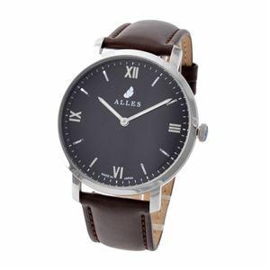 ALLES(アレス) wwas391h01d04f07 メンズ腕時計 ユニセックス腕時計 39mm 【日本製 クォーツ】 ローマインデックス ブラック/シルバー ダークブラウンカーフ革ベルト - 拡大画像