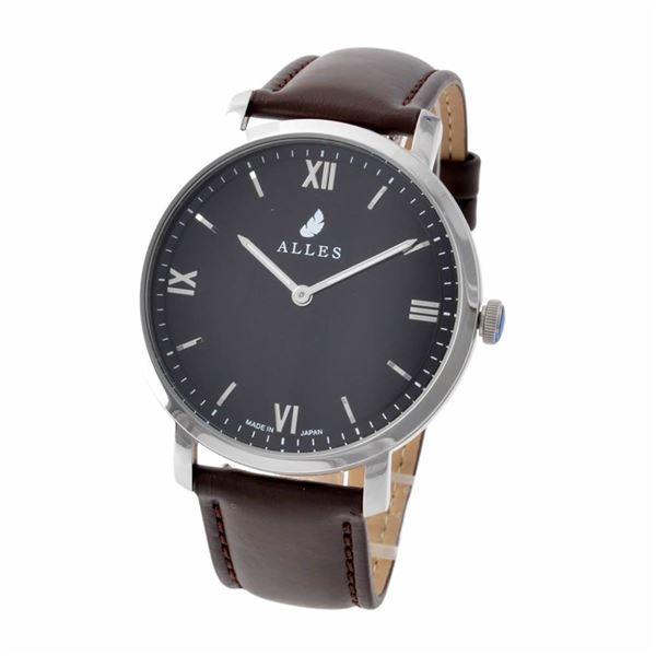 ALLES(アレス) wwas391h01d04f07 メンズ腕時計 ユニセックス腕時計 39mm 【日本製 クォーツ】 ローマインデックス ブラック/シルバー ダークブラウンカーフ革ベルト