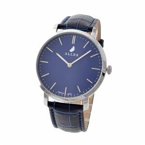 ALLES(アレス) wwas391h01d05e03 メンズ腕時計 ユニセックス腕時計 39mm 【日本製 クォーツ】 バーインデックス ネイビー/シルバー ネイビー型押し革ベルト ユニセックス WATCH - 拡大画像