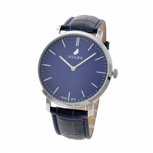ALLES(アレス) wwas391h01d05e03 メンズ腕時計 ユニセックス腕時計 39mm 【日本製 クォーツ】 バーインデックス ネイビー/シルバー ネイビー型押し革ベルト