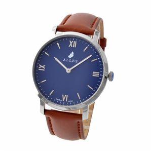 ALLES(アレス) wwas391h01d06f02 メンズ腕時計 ユニセックス腕時計 39mm 【日本製 クォーツ】 ローマインデックス ネイビー/シルバー ブラウンカーフ革ベルト - 拡大画像