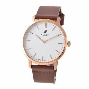 ALLES(アレス) wwas393h02d07h07 メンズ腕時計 ユニセックス腕時計 39mm 【日本製 クォーツ】 バーインデックス ホワイト/ローズゴールド ブラウンHOLY革ベルト - 拡大画像