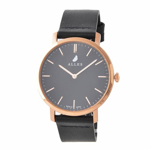 ALLES(アレス) wwas393h02d08h01 メンズ腕時計 ユニセックス腕時計 39mm 【日本製 クォーツ】 バーインデックス ブラック/ローズゴールド ブラックHOLY革ベルト