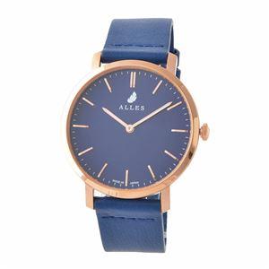 ALLES(アレス) wwas393h02d09h03 メンズ腕時計 ユニセックス腕時計 39mm 【日本製 クォーツ】 バーインデックス ネイビー/ローズゴールド ブルーHOLY革ベルト - 拡大画像