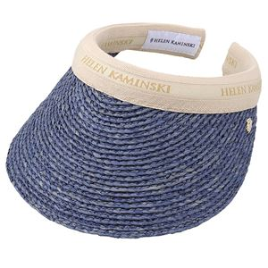 HELEN KAMINSKI(ヘレンカミンスキー) Bianca Misty Lake/Natural Logo ビアンカ UPF50+ クリップ サンバイザー ラフィア製ハット レディス帽子 - 拡大画像
