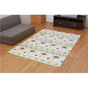 ホットカーペット対応 ソフトな扁平糸使用ラグ 『ランクル』 グリーン 130×185cm - 拡大画像