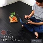 糸なしタイプ 竹カーペット 『ユニバース』 ブラック 200×240cm