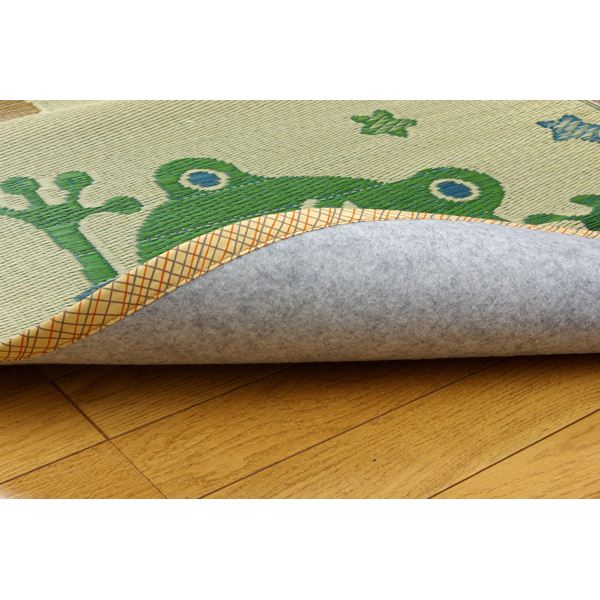 い草ラグカーペット 円形 『D×アニマルランド』 約191cm丸(裏:不織布)