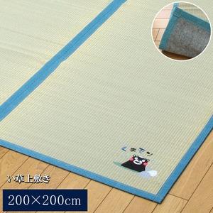 純国産/日本製 い草ラグカーペット 『くまモン 温泉』 約200×200cm 正方形 - 拡大画像