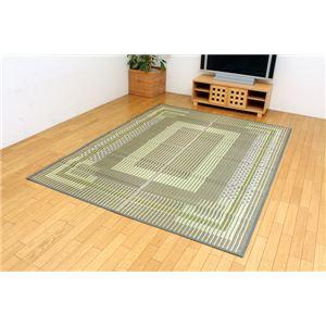 純国産/日本製 い草ラグカーペット 『Fスパーブ』 グリーン 約140×200cm(裏:ウレタン) - 拡大画像
