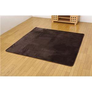 ホットカーペット対応 ソフトな扁平糸使用ラグ 『リラ』 ブラウン 185×185cm 正方形 - 拡大画像